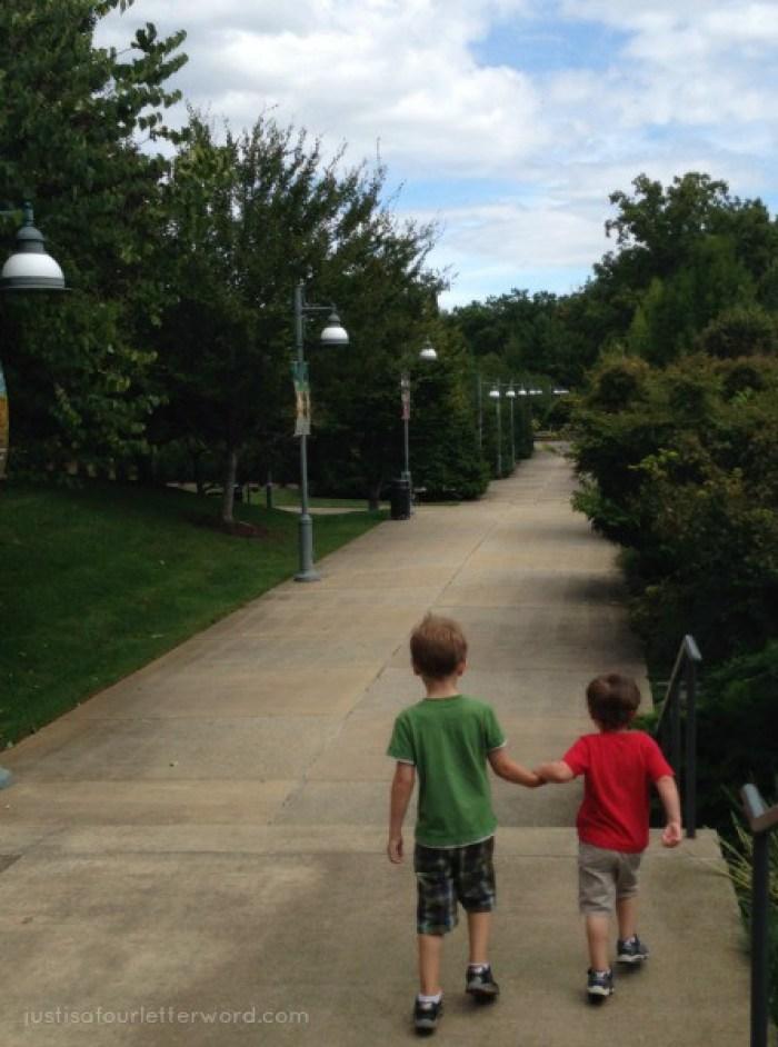 Brothers walking at Arboretum