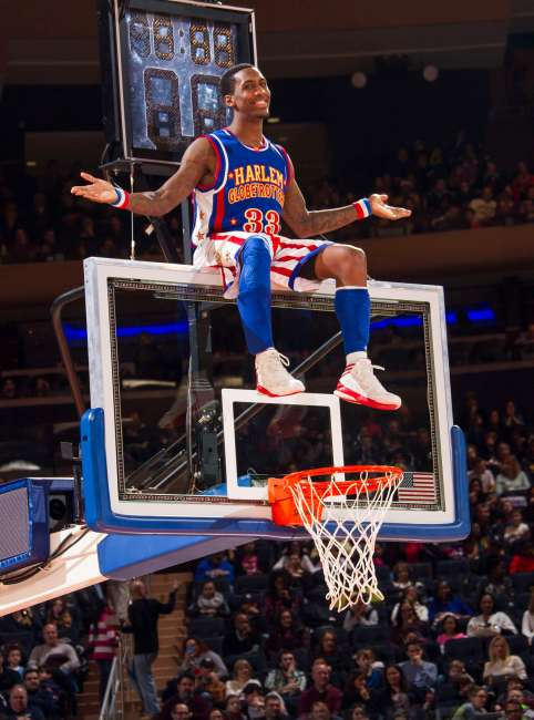February 16, 2016: The Harlem Globetrotters play an exhibition basketball game at Madison Square Garden.