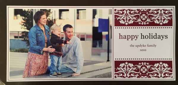 Photo of Jerry and Andrea with Oscar on the 2010 Christmas Card