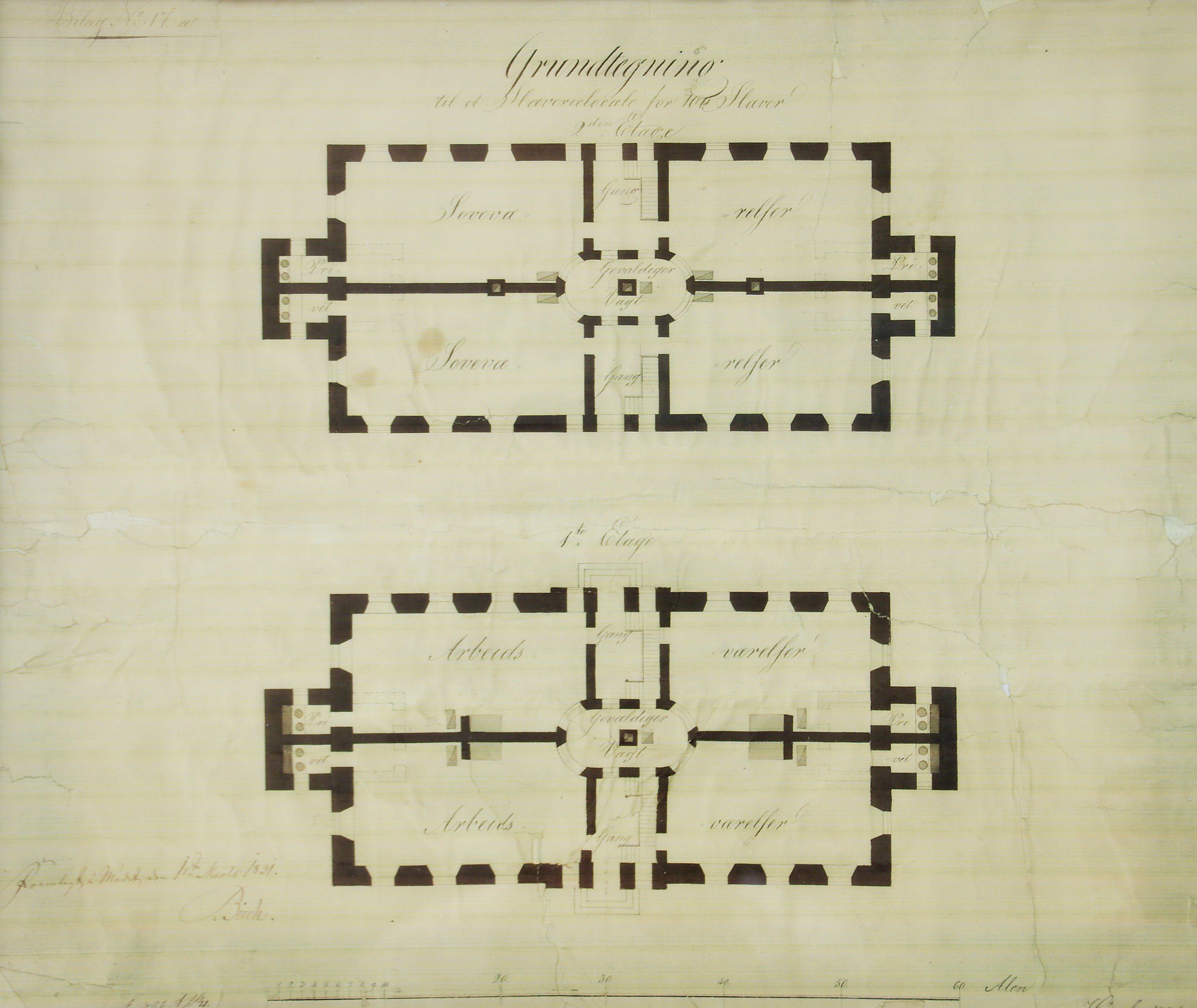 Originale plantegning av Slaveriet som viser de fire originale rommene i hver etasje.