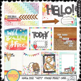 Digital Scrapbooking - March BYOC Happy Stacked Pocket Cards