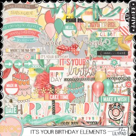 Digital Scrapbooking - It's Your Birthday Element Pack - April BYOC