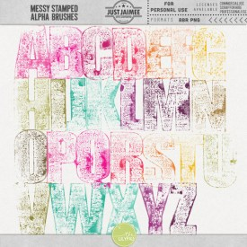 Digital Scrapbooking - Messy Stamped Alpha Brushes