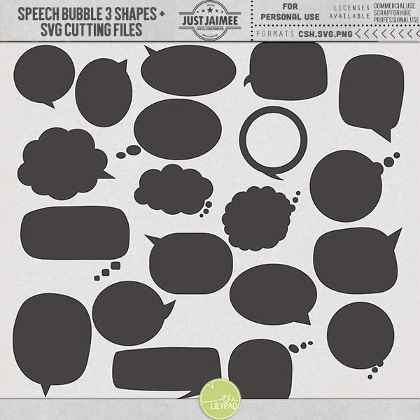 Speech Bubbles 3 Custom Shapes + SVG files - Just Jaimee