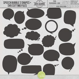 Digital Scrapbooking - Speech Bubbles 3 Custom Shapes + SVG files