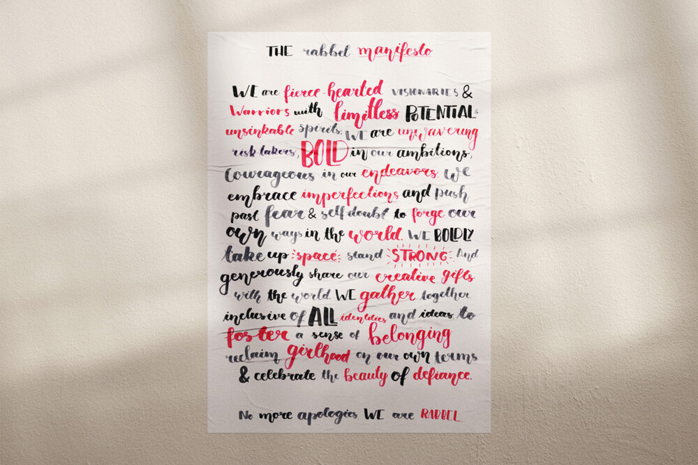 The Rabbel Manifesto. Rabbel Magazine is a creative print elevating the stories of fierce-hearted women and girls around the world through inspiring and uplifting creative content.