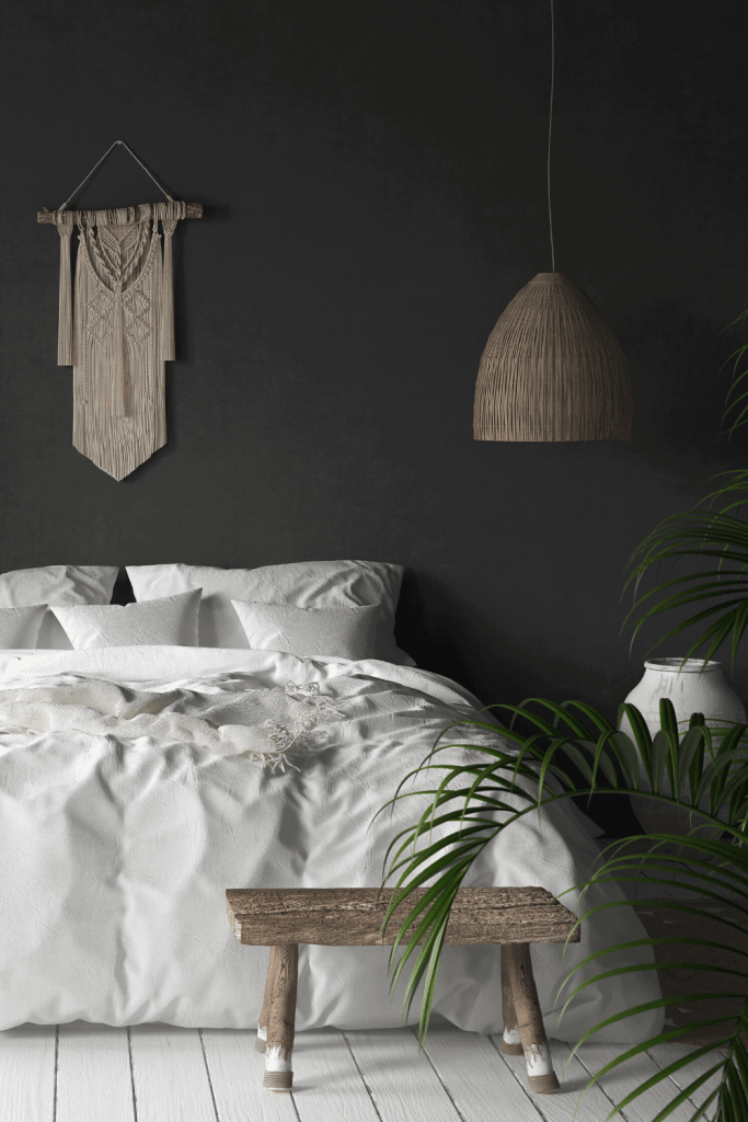 How to Create the Boho Bedroom of Your Dreams - Dark Wall - justjeslyn.com