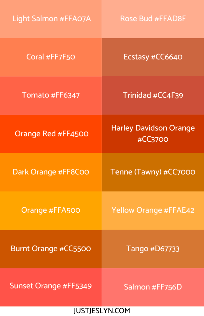 Names for Colors to Inspire Your Next Project (With Hex Codes!) | Names for Orange | Just Jes Lyn