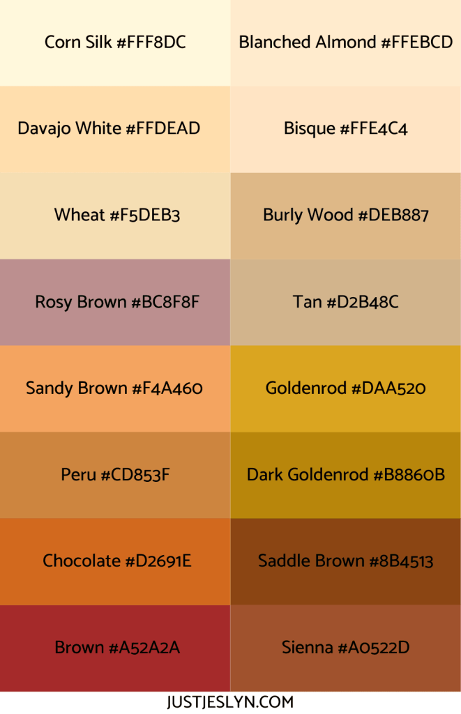 Names for Colors to Inspire Your Next Project (With Hex Codes!) | Names for Brown | Just Jes Lyn