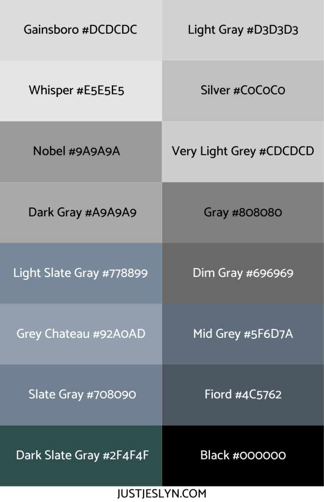 Names for Colors to Inspire Your Next Project (With Hex Codes!) | Names for Gray | Just Jes Lyn