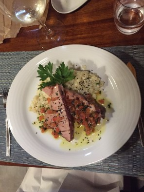 Tuna steak on a risotto bed