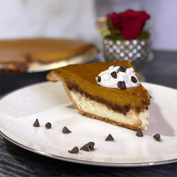 Pumpkin Cheesecake Pie (With A Little Chocolate)