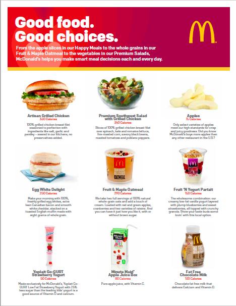 McDonald's healthier options
