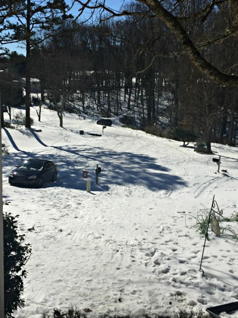 Streets in NC are covered in snow and ice