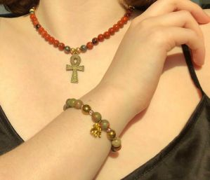 Set:Short Red River JAnkh Beaded Necklace & Unakite Elephant Beaded Bracelet Set