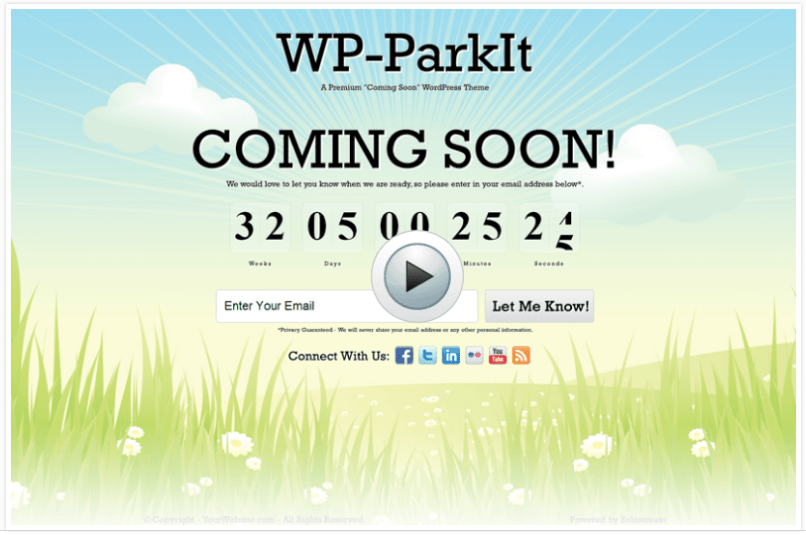 WordPress Premium Theme- WP-ParkIt Coming Soon