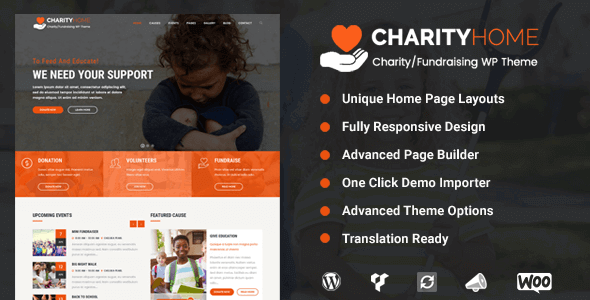 Charity Home - Charity/Fundraising WordPress Theme for charity websites