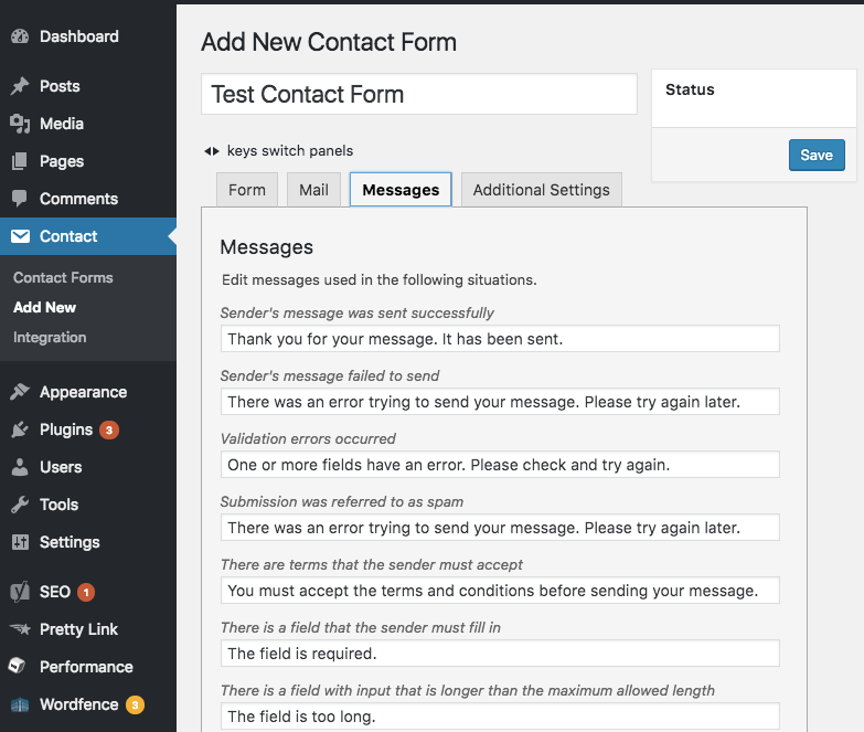 customize contact form 7 messages