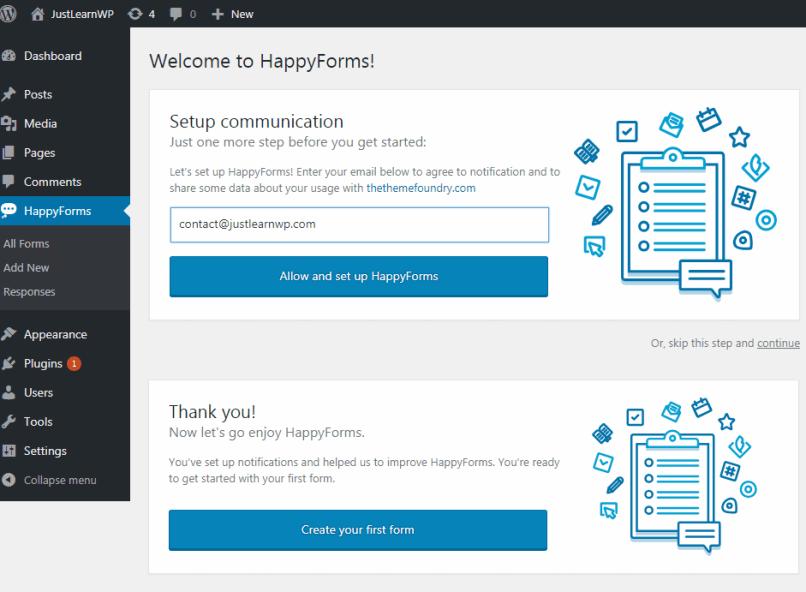 happyforms welcome screen