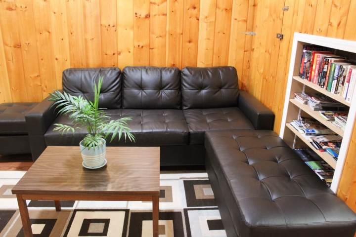 couches, coffee table and books in Jasper
