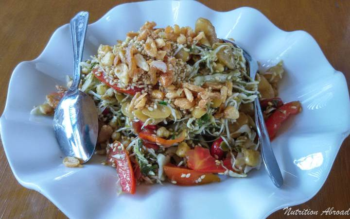 Delicious plate of salad in restaurant