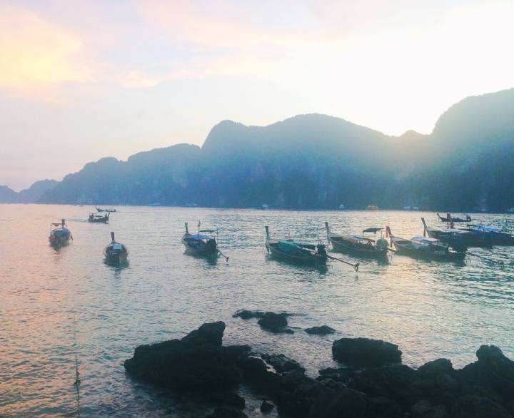 Koh Phi Phi beach with boats Thailand