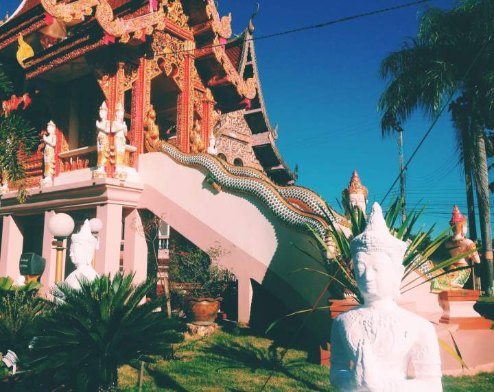 Little orange and white temple in Thailand