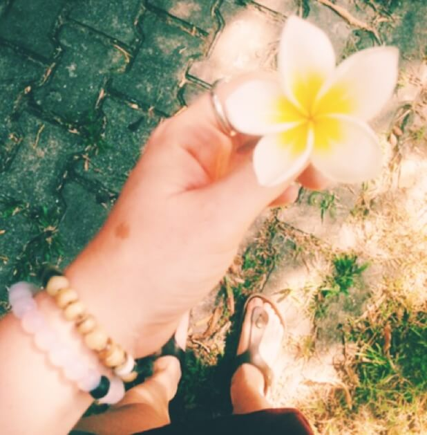 Hand Holding Yellow and White Flower