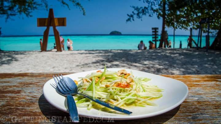 Papaya Salad on the beach