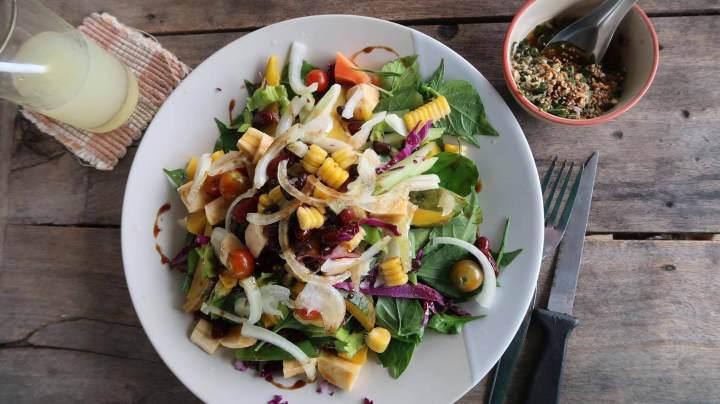 Delicious Vegan Salad plated beautifully