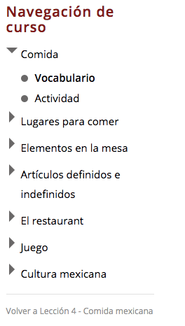 Course Navigation   Mexican Food   Hi-Spanish Online Spanish Classes