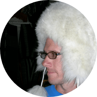 William Moore in fuzzy, pom pom hat