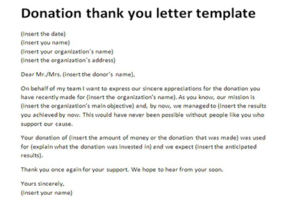 Thank You Letter Donation Template  MytemplateCo