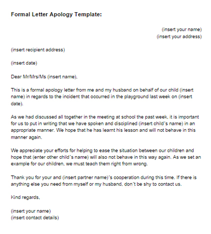 apology letter template Letter – Business Apology Letter Template