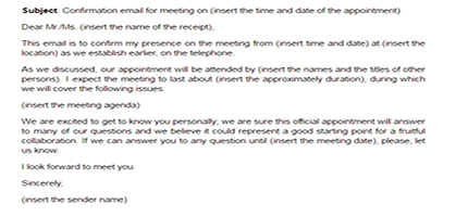 meeting confirmation email sample