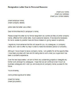 Resignation Letter Due to Personal Reasons Sample | Just ...
