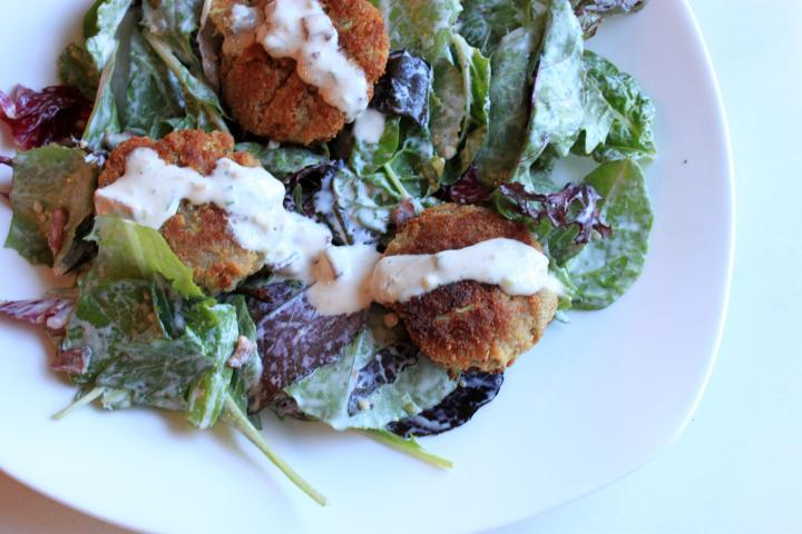 Parmesan Fritter Salad with Bacon Buttermilk Dressing