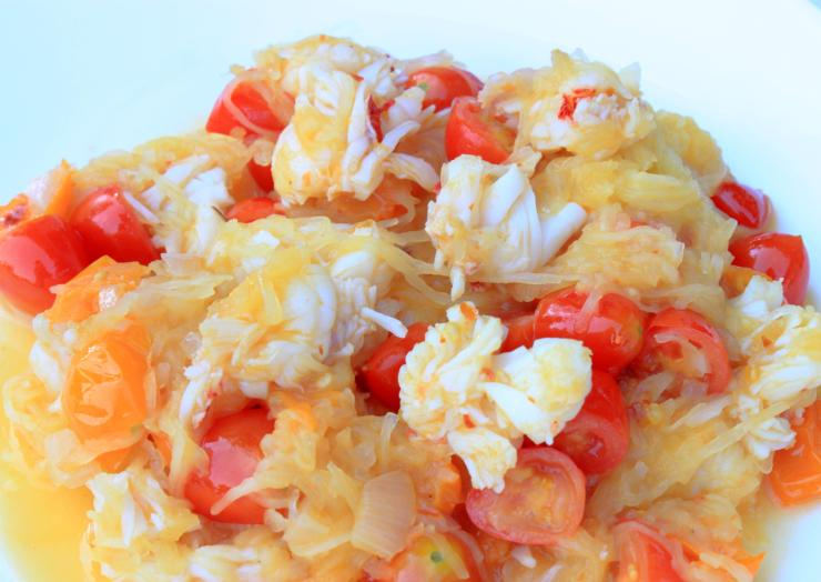 spicy lobster spaghetti squash