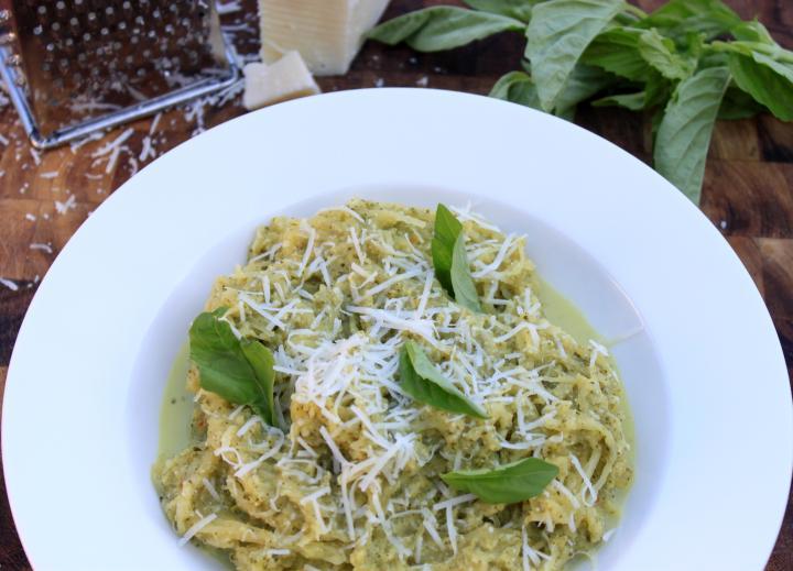 broccoli & pecorino pesto spaghetti squash