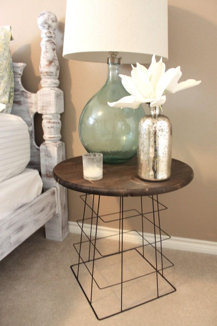 DIY wire basket nightstand