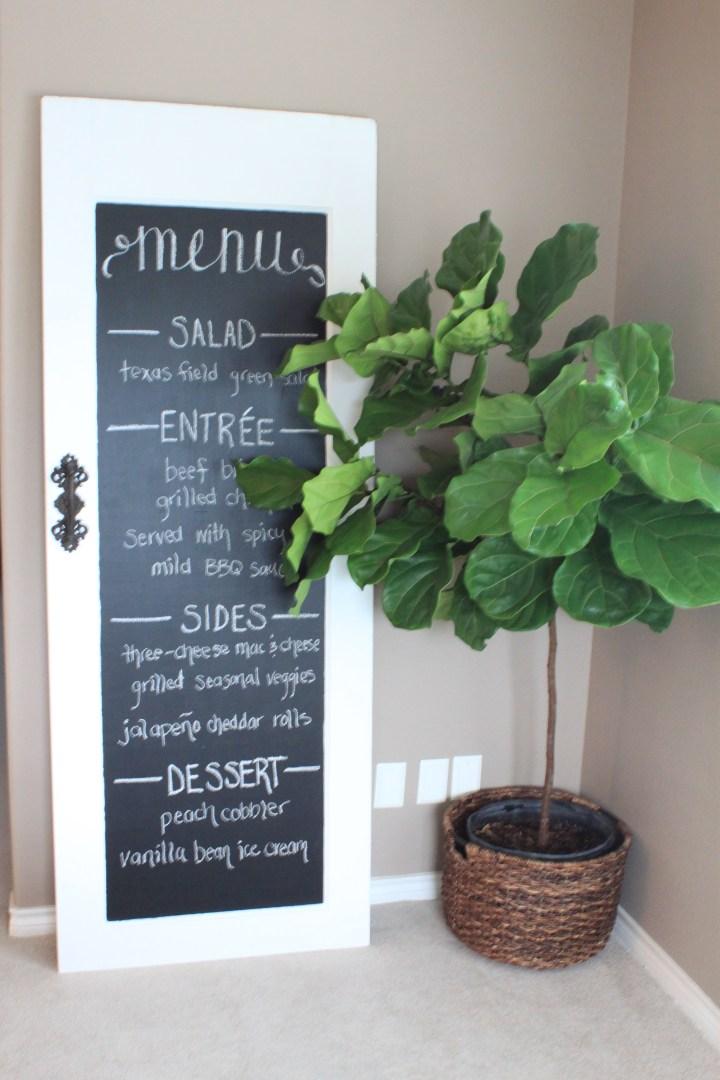 DIY menu chalkboard