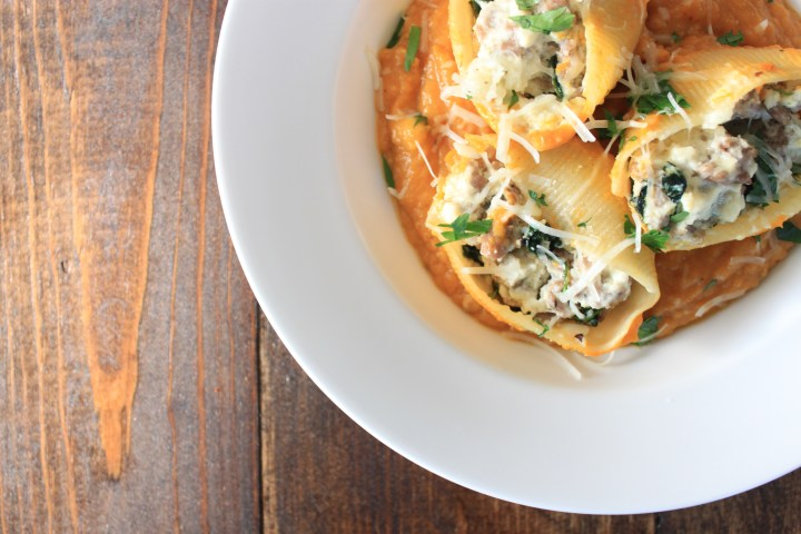 Sausage & Spinach Stuffed Shells with Butternut Squash Puree