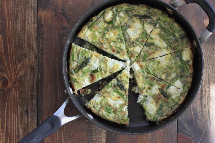 spring frittata with asparagus, leek & dill