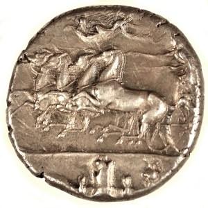 Sicily, Syracuse. Silver dekadrachm (Reverse) signed by Euainetos, 406–367 BCE. Reverse.