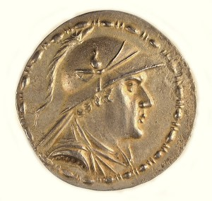 Bactria, Eukradites, silver tetradrachm, ca. 171–145 BCE. Obverse.