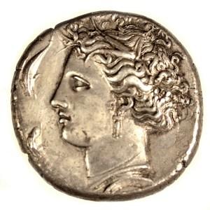 Silver Dekadrachm. Sicily, Syracuse. 406-367 BCE