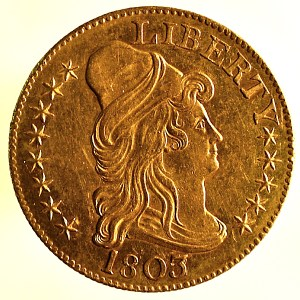 United States Gold Half Eagle $5 coin. 1803. Obverse.