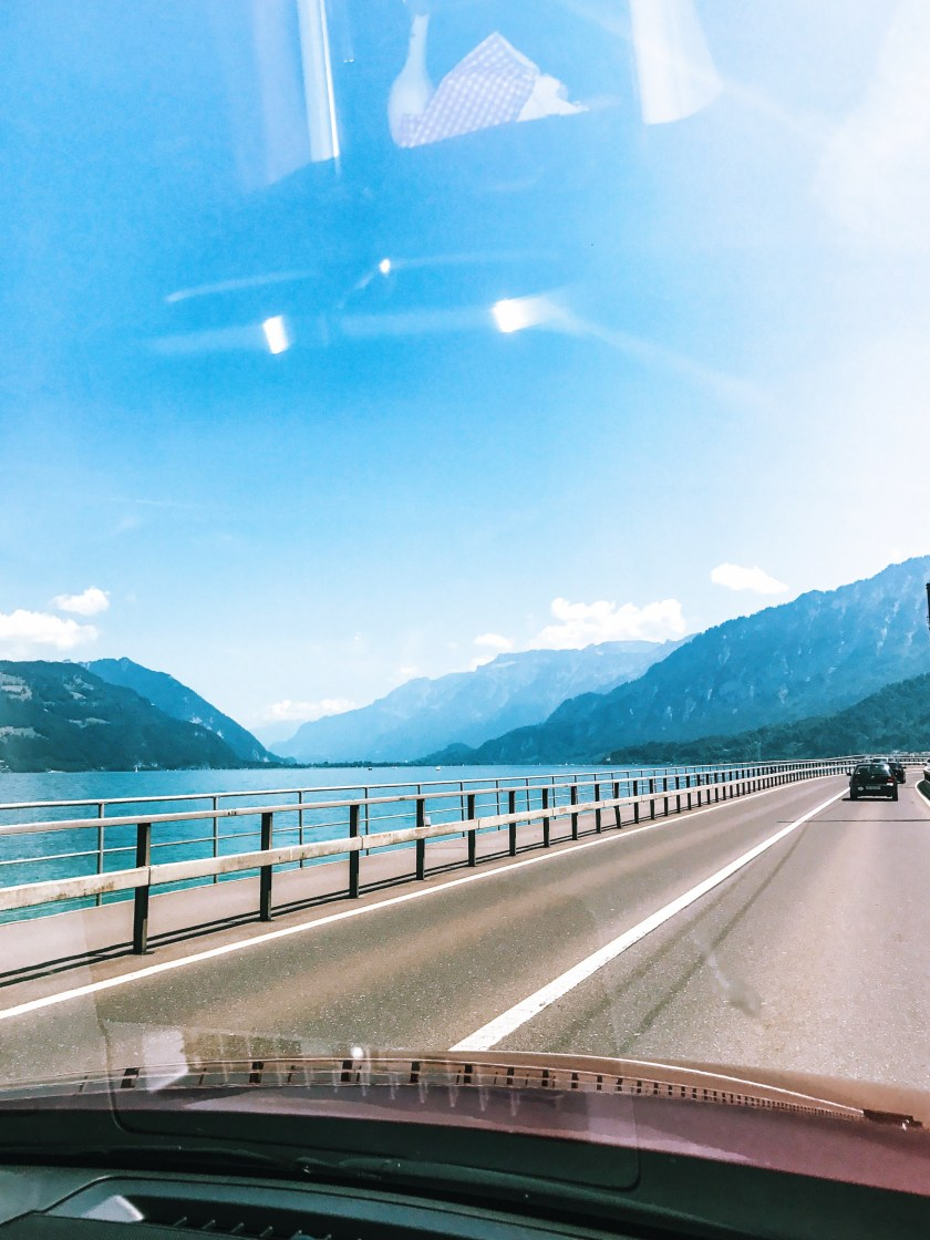 Driving along Lake Thun, Switzerland