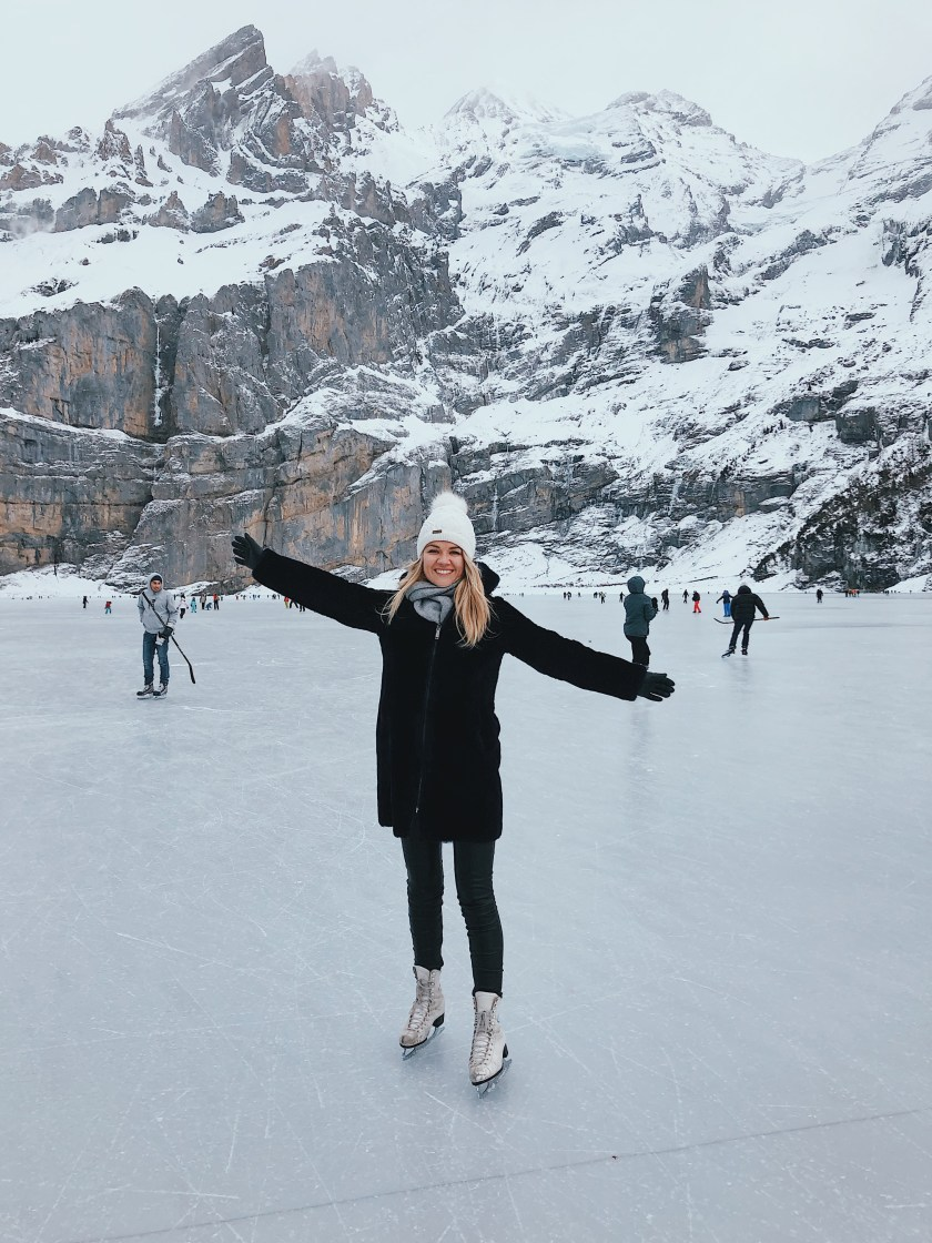 Happy skating on the ice in the Alps