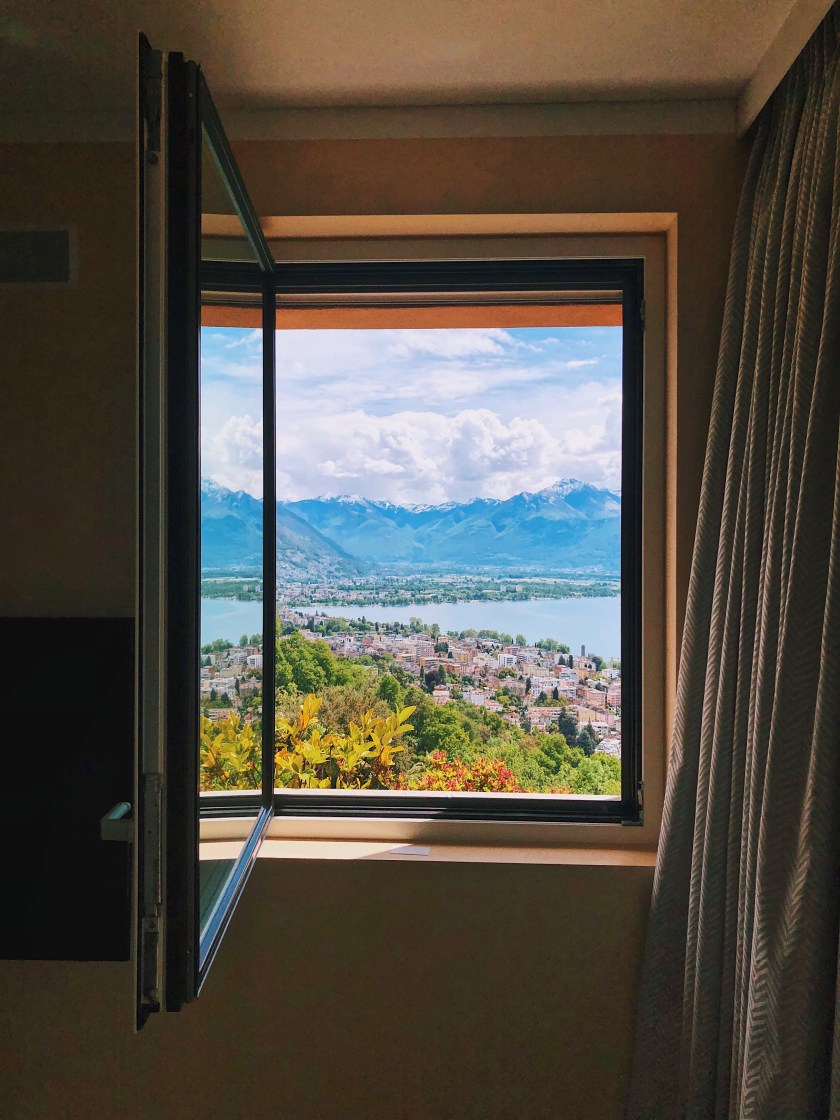 Window views from the Panorama Suite at Villa Orselina in Locarno Switzerland